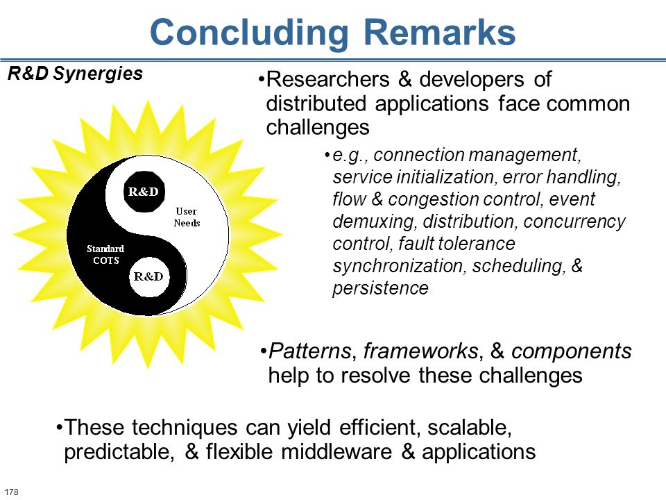 178 Concluding Remarks Researchers & developers of distributed applications face common challenges R&D Synergies Patterns, frameworks, & components help to resolve these challenges These techniques can yield efficient, scalable, predictable, & flexible middleware & applications e.g., connection management, service initialization, error handling, flow & congestion control, event demuxing, distribution, concurrency control, fault tolerance synchronization, scheduling, & persistence R&D