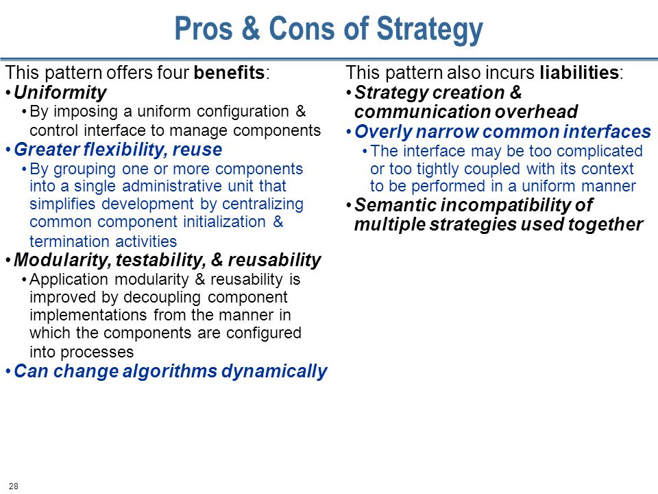 28 Pros & Cons of Strategy This pattern offers four benefits: Uniformity By imposing a uniform configuration & control interface to manage components Greater flexibility, reuse By grouping one or more components into a single administrative unit that simplifies development by centralizing common component initialization & termination activities Modularity, testability, & reusability Application modularity & reusability is improved by decoupling component implementations from the manner in which the components are configured into processes Can change algorithms dynamically This pattern also incurs liabilities: Strategy creation & communication overhead Overly narrow common interfaces The interface may be too complicated or too tightly coupled with its context to be performed in a uniform manner Semantic incompatibility of multiple strategies used together