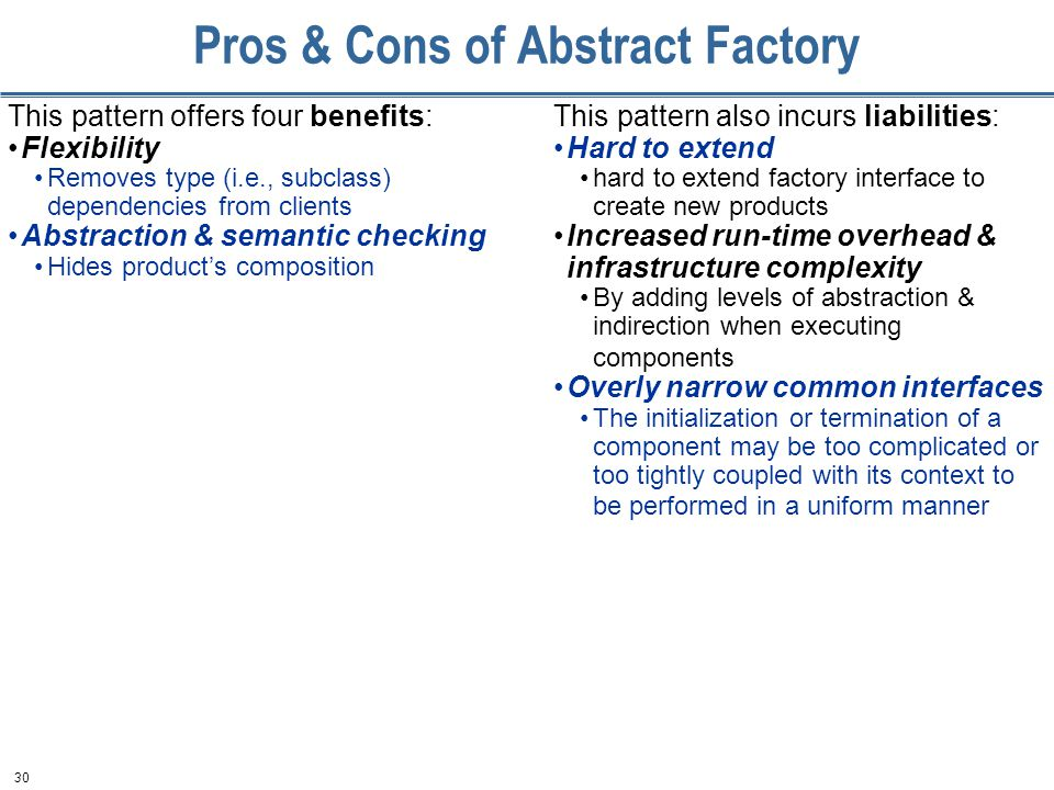 30 Pros & Cons of Abstract Factory This pattern offers four benefits: Flexibility Removes type (i.e., subclass) dependencies from clients Abstraction & semantic checking Hides product's composition This pattern also incurs liabilities: Hard to extend hard to extend factory interface to create new products Increased run-time overhead & infrastructure complexity By adding levels of abstraction & indirection when executing components Overly narrow common interfaces The initialization or termination of a component may be too complicated or too tightly coupled with its context to be performed in a uniform manner