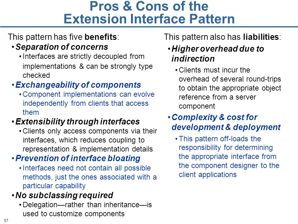 57 Pros & Cons of the Extension Interface Pattern This pattern has five benefits: Separation of concerns Interfaces are strictly decoupled from implementations & can be strongly type checked Exchangeability of components Component implementations can evolve independently from clients that access them Extensibility through interfaces Clients only access components via their interfaces, which reduces coupling to representation & implementation details Prevention of interface bloating Interfaces need not contain all possible methods, just the ones associated with a particular capability No subclassing required Delegation—rather than inheritance—is used to customize components This pattern also has liabilities: Higher overhead due to indirection Clients must incur the overhead of several round-trips to obtain the appropriate object reference from a server component Complexity & cost for development & deployment This pattern off-loads the responsibility for determining the appropriate interface from the component designer to the client applications