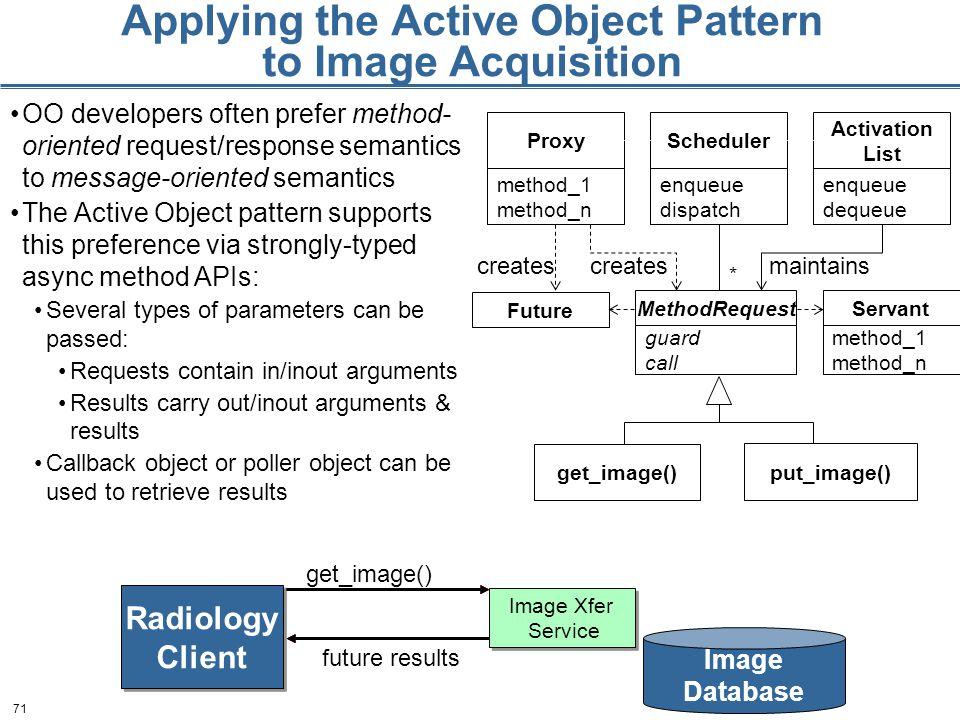 71 Applying the Active Object Pattern to Image Acquisition OO developers often prefer method- oriented request/response semantics to message-oriented semantics The Active Object pattern supports this preference via strongly-typed async method APIs: Several types of parameters can be passed: Requests contain in/inout arguments Results carry out/inout arguments & results Callback object or poller object can be used to retrieve results Future Scheduler enqueue dispatch MethodRequest guard call * Proxy method_1 method_n Activation List enqueue dequeue Servant method_1 method_n creates maintains get_image() put_image() Image Xfer Service Image Xfer Service Image Database Radiology Client Radiology Client get_image() future results
