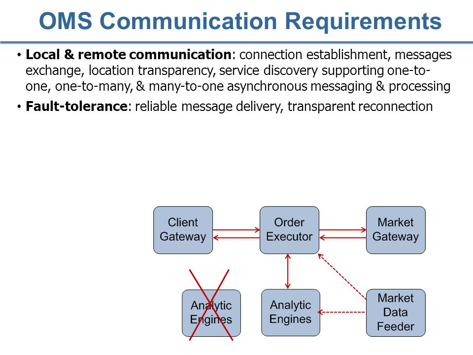 Fault-tolerance: reliable message delivery, transparent reconnection OMS Communication Requirements