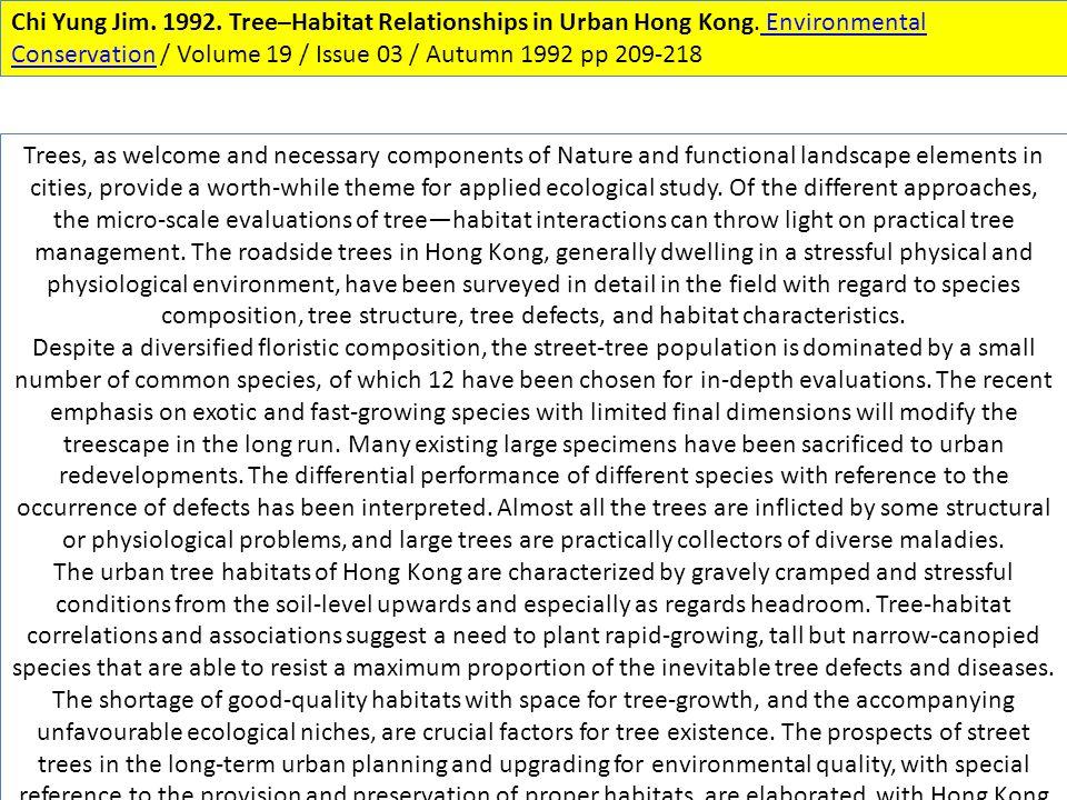 Chi Yung Jim. 1992. Tree–Habitat Relationships in Urban Hong Kong.