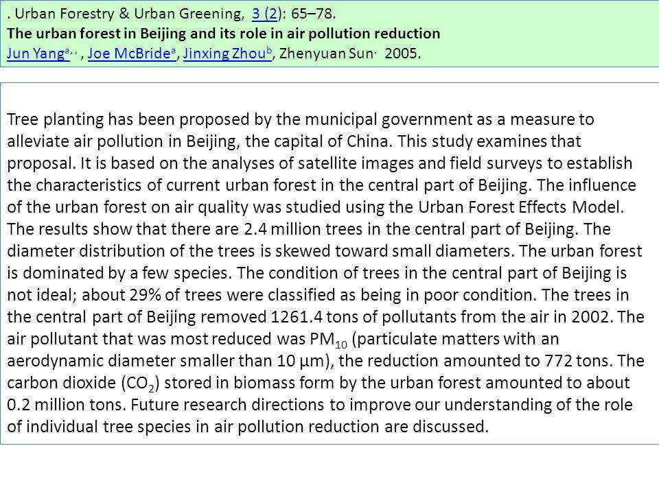 Urban Forestry & Urban Greening, 3 (2): 65–78.3 (2 The urban forest in Beijing and its role in air pollution reduction Jun Yang aJun Yang a,,, Joe McBride a, Jinxing Zhou b, Zhenyuan Sun.