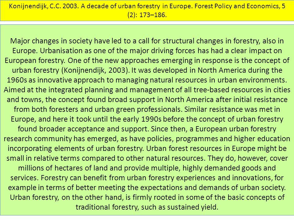 Konijnendijk, C.C. 2003. A decade of urban forestry in Europe.