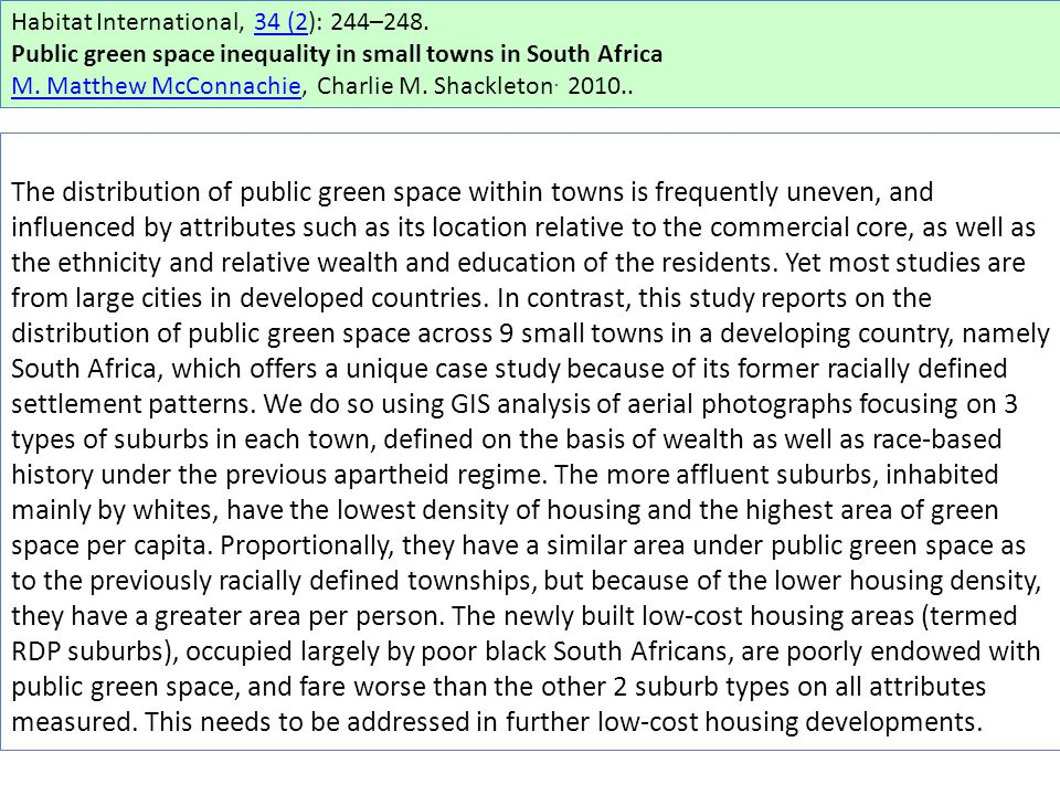 Habitat International, 34 (2): 244–248.34 (2 Public green space inequality in small towns in South Africa M.