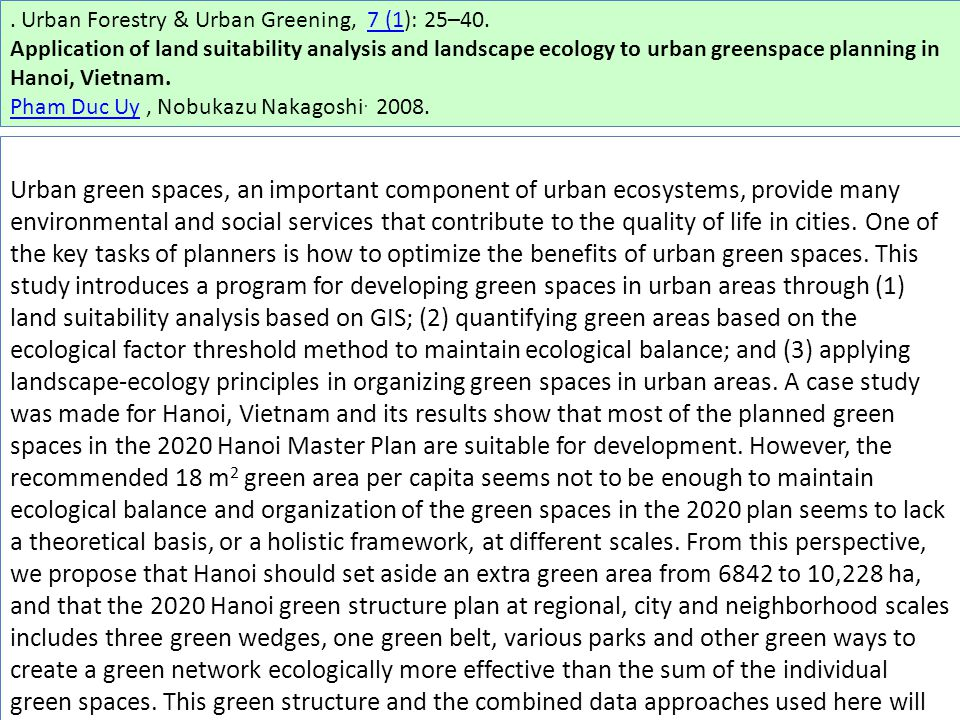 Urban Forestry & Urban Greening, 7 (1): 25–40.7 (1 Application of land suitability analysis and landscape ecology to urban greenspace planning in Hanoi, Vietnam.