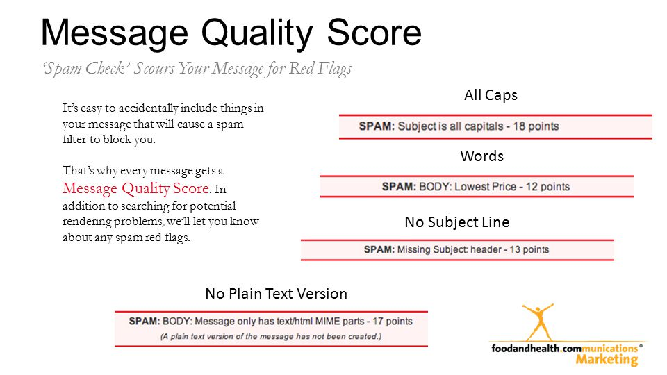 Message Quality Score Words No Plain Text Version 'Spam Check' Scours Your Message for Red Flags All Caps No Subject Line It's easy to accidentally include things in your message that will cause a spam filter to block you.