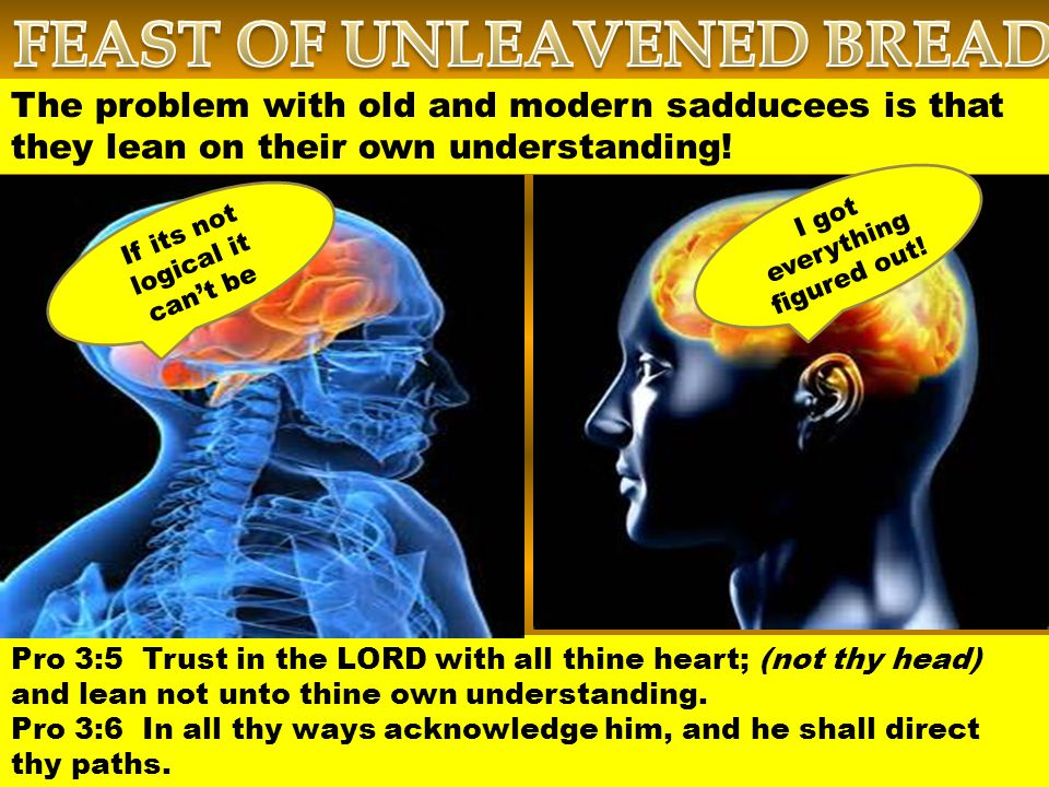 Pro 3:5 Trust in the LORD with all thine heart; (not thy head) and lean not unto thine own understanding.