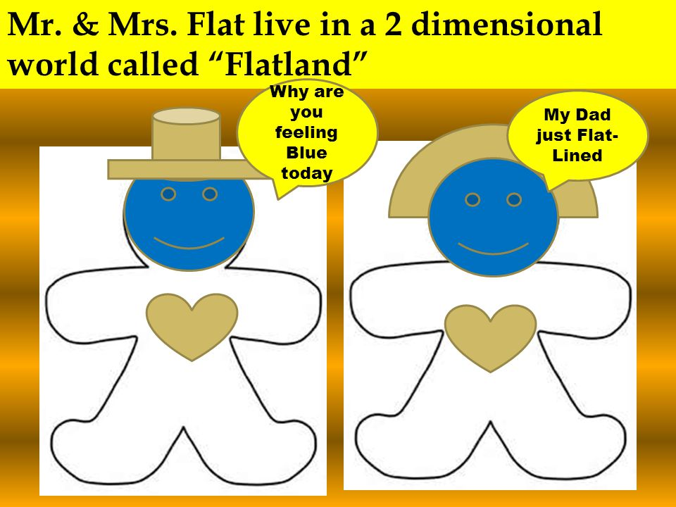 """Mr. & Mrs. Flat live in a 2 dimensional world called """"Flatland"""" Why are you feeling Blue today My Dad just Flat- Lined"""