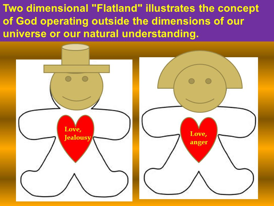 Two dimensional Flatland illustrates the concept of God operating outside the dimensions of our universe or our natural understanding.