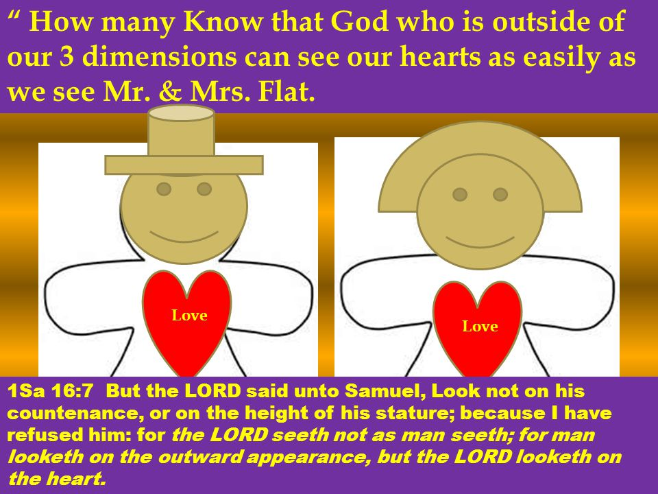 How many Know that God who is outside of our 3 dimensions can see our hearts as easily as we see Mr.
