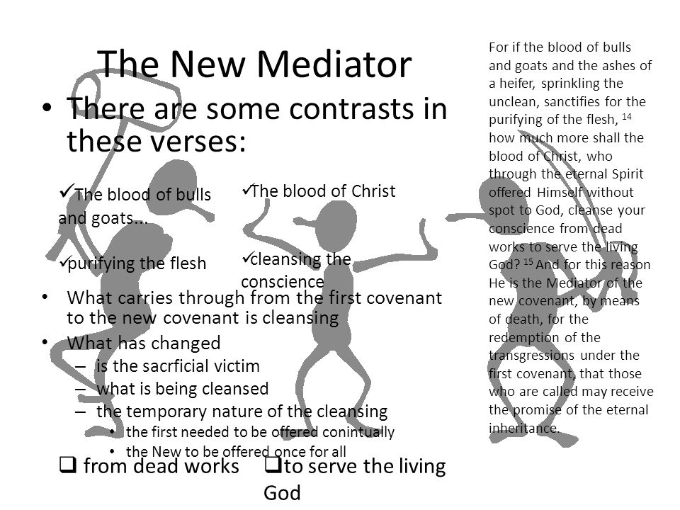The New Mediator There are some contrasts in these verses: What carries through from the first covenant to the new covenant is cleansing What has chan