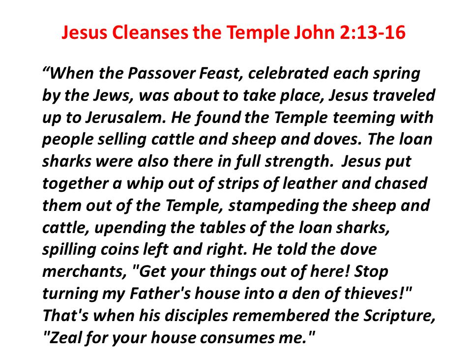 Jesus Cleanses the Temple John 2:13-16 When the Passover Feast, celebrated each spring by the Jews, was about to take place, Jesus traveled up to Jerusalem.