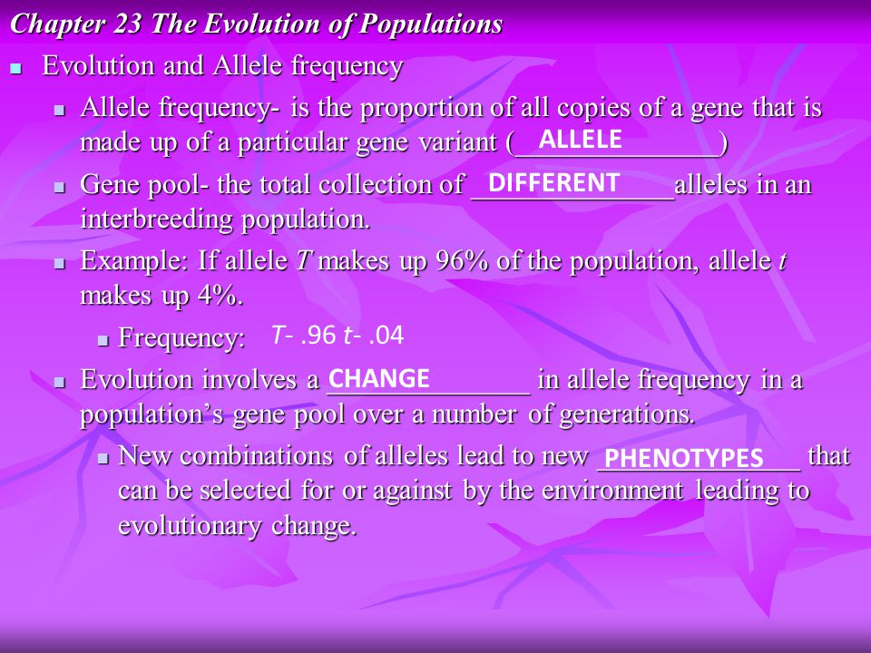 Chapter 23 The Evolution of Populations Evolution and Allele frequency Evolution and Allele frequency Allele frequency- is the proportion of all copies of a gene that is made up of a particular gene variant (______________) Allele frequency- is the proportion of all copies of a gene that is made up of a particular gene variant (______________) Gene pool- the total collection of ______________alleles in an interbreeding population.