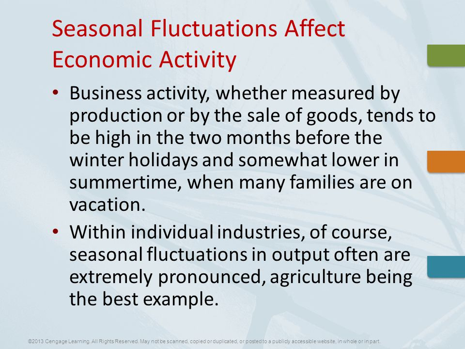 Business activity, whether measured by production or by the sale of goods, tends to be high in the two months before the winter holidays and somewhat lower in summertime, when many families are on vacation.