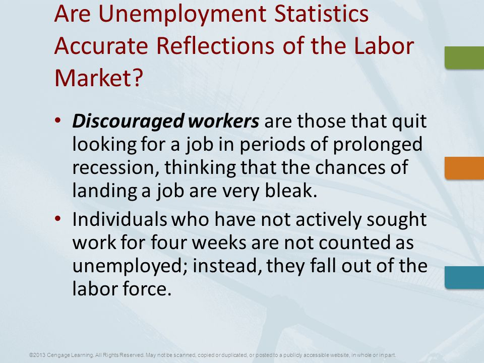 Discouraged workers are those that quit looking for a job in periods of prolonged recession, thinking that the chances of landing a job are very bleak.