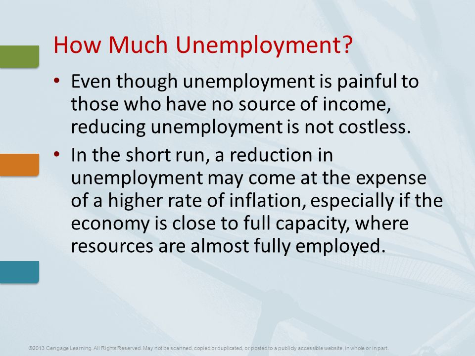 Even though unemployment is painful to those who have no source of income, reducing unemployment is not costless.