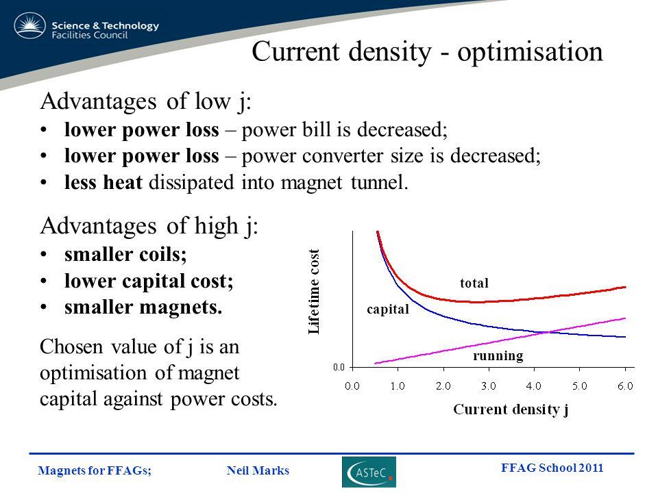 Magnets for FFAGs; Neil Marks FFAG School 2011 Advantages of low j: lower power loss – power bill is decreased; lower power loss – power converter siz