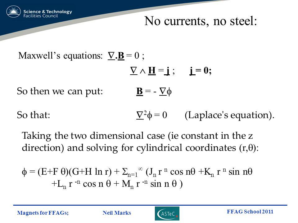 Magnets for FFAGs; Neil Marks FFAG School 2011 Maxwell's equations: .B = 0 ;   H = j ; j = 0; So then we can put: B = -  So that:  2  = 0 (Lapl