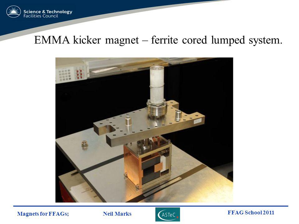 Magnets for FFAGs; Neil Marks FFAG School 2011 EMMA kicker magnet – ferrite cored lumped system.