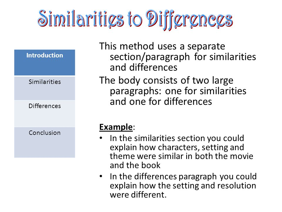 Introduction Similarities Differences Conclusion This method uses a separate section/paragraph for similarities and differences The body consists of two large paragraphs: one for similarities and one for differences Example: In the similarities section you could explain how characters, setting and theme were similar in both the movie and the book In the differences paragraph you could explain how the setting and resolution were different.