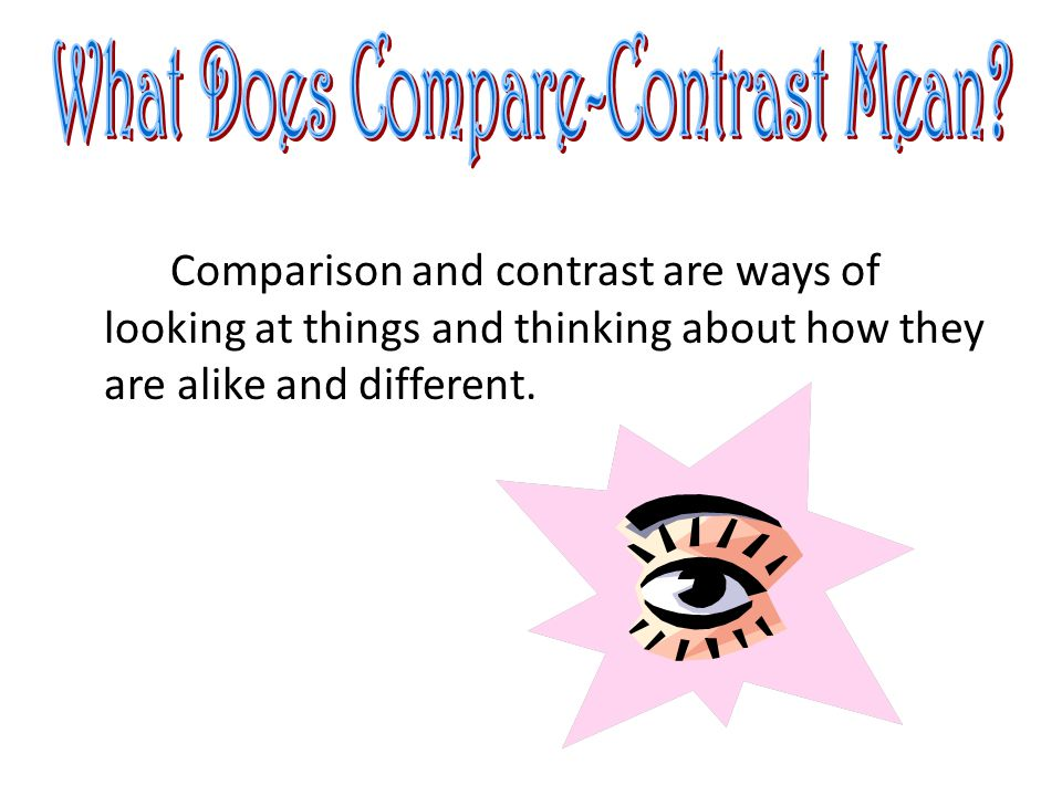 In this strategy you explain one point of comparison before moving to the next point Example: Each paragraph explains one point of comparison/contrast before moving to the next point.