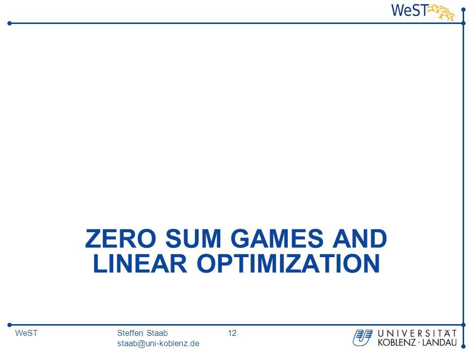 Steffen Staab staab@uni-koblenz.de 12WeST ZERO SUM GAMES AND LINEAR OPTIMIZATION