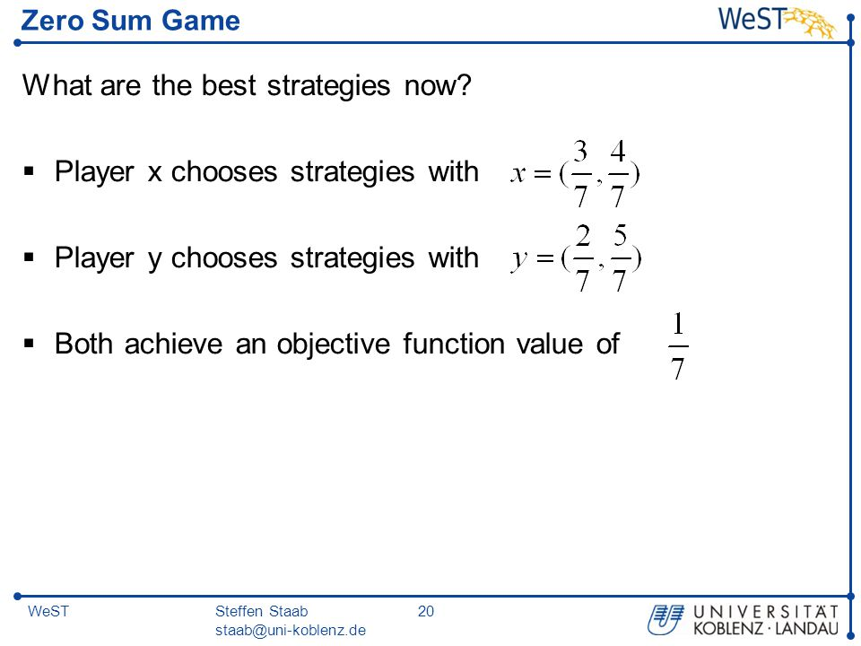 Steffen Staab staab@uni-koblenz.de 20WeST Zero Sum Game What are the best strategies now?  Player x chooses strategies with  Player y chooses strate