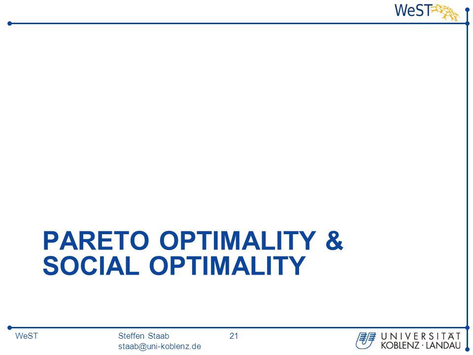 Steffen Staab staab@uni-koblenz.de 21WeST PARETO OPTIMALITY & SOCIAL OPTIMALITY
