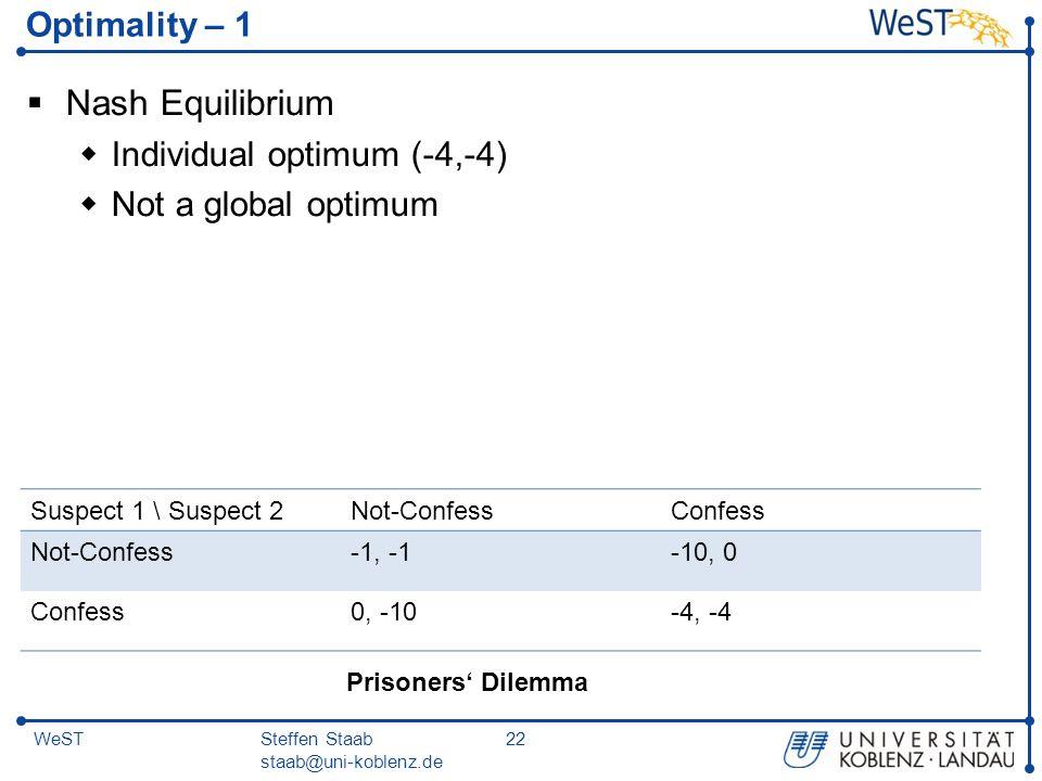 Steffen Staab staab@uni-koblenz.de 22WeST Optimality – 1  Nash Equilibrium  Individual optimum (-4,-4)  Not a global optimum Suspect 1 \ Suspect 2N