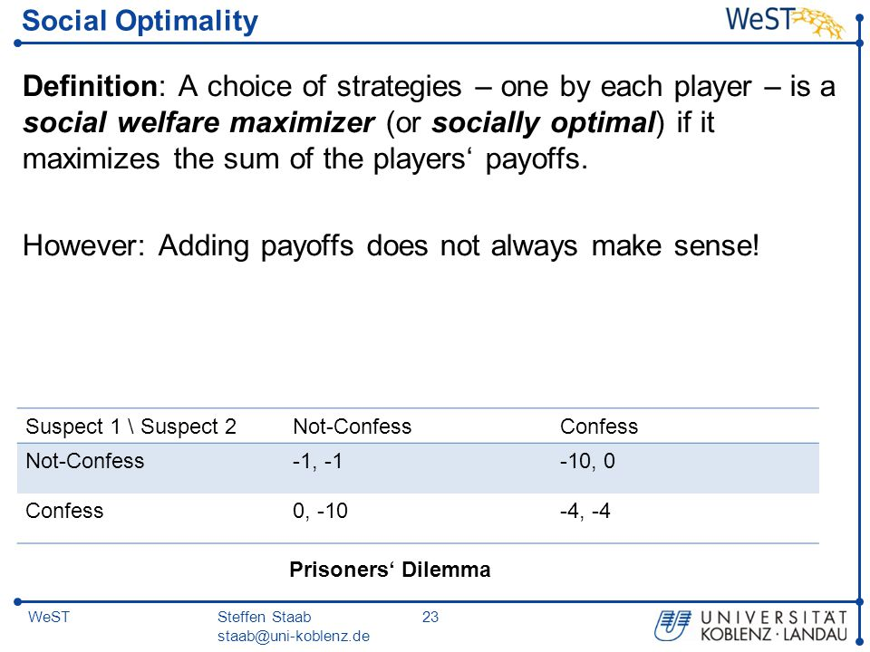 Steffen Staab staab@uni-koblenz.de 23WeST Social Optimality Definition: A choice of strategies – one by each player – is a social welfare maximizer (o