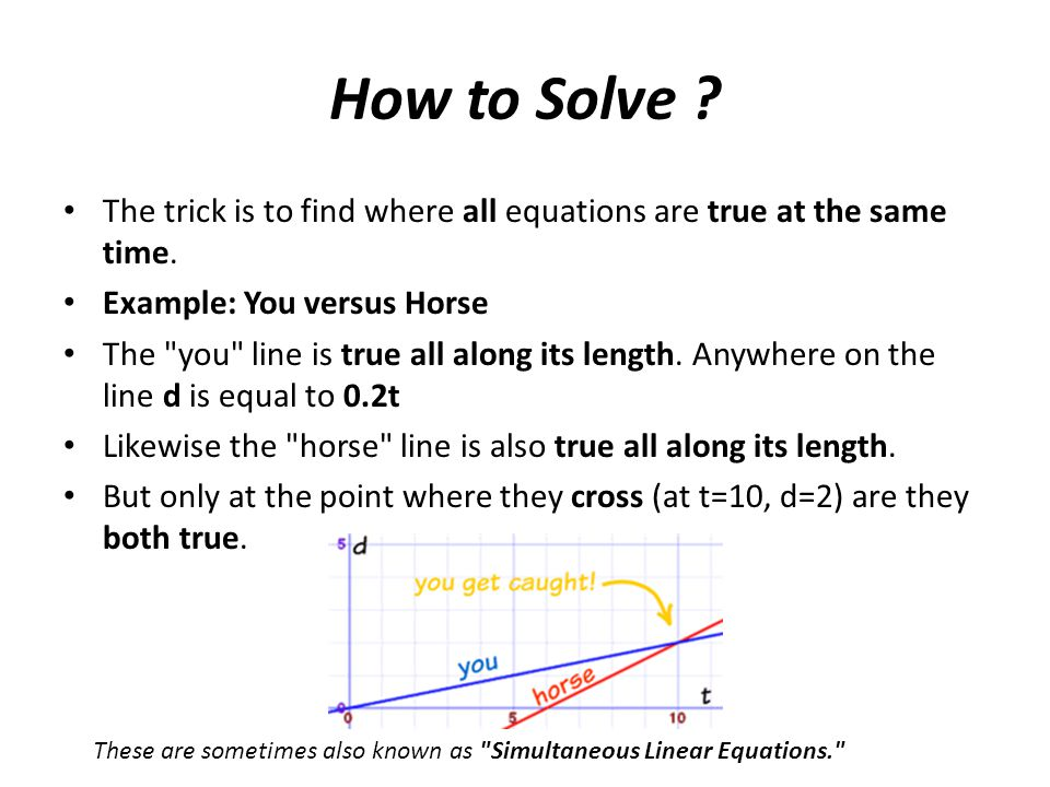 How to Solve ? The trick is to find where all equations are true at the same time. Example: You versus Horse The