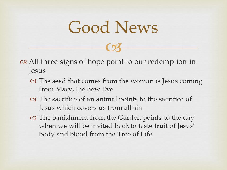   All three signs of hope point to our redemption in Jesus  The seed that comes from the woman is Jesus coming from Mary, the new Eve  The sacrifice of an animal points to the sacrifice of Jesus which covers us from all sin  The banishment from the Garden points to the day when we will be invited back to taste fruit of Jesus' body and blood from the Tree of Life Good News