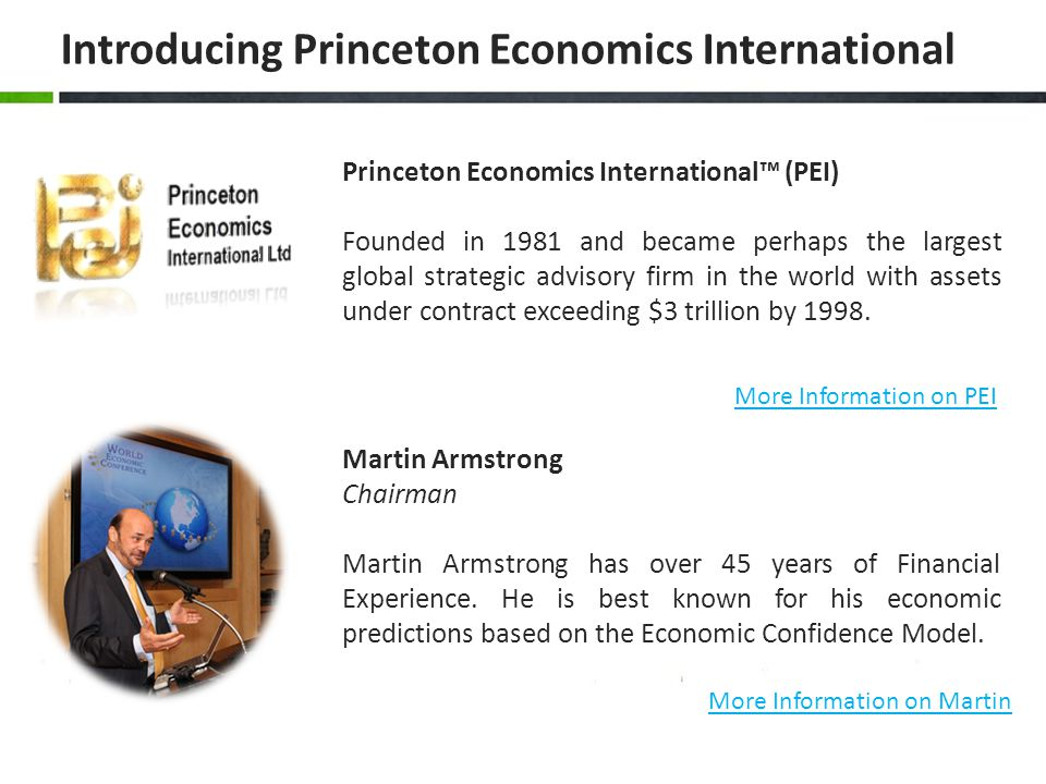 Introducing Princeton Economics International Martin Armstrong Chairman Martin Armstrong has over 45 years of Financial Experience. He is best known f