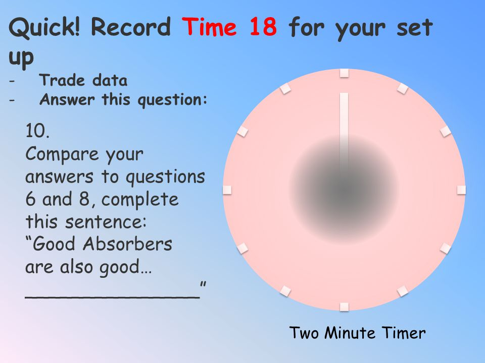 Quick! Record Time 16 for your set up -Trade data -Answer this question: Two Minute Timer 9. Relate this experiment to real life. What type of surface