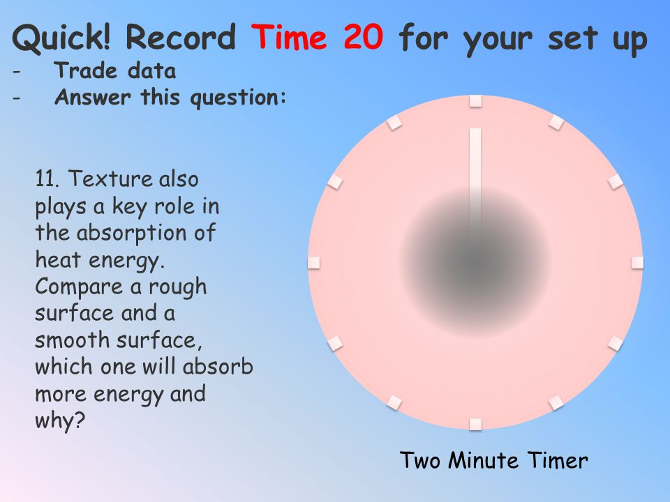 Quick! Record Time 18 for your set up -Trade data -Answer this question: Two Minute Timer 10. Compare your answers to questions 6 and 8, complete this