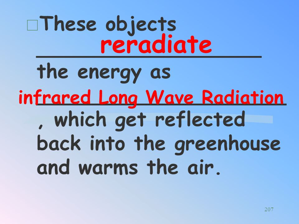 Short wave radiation like ___________ passes through the glass of a greenhouse and is _______________ by the objects inside the greenhouse. Visible