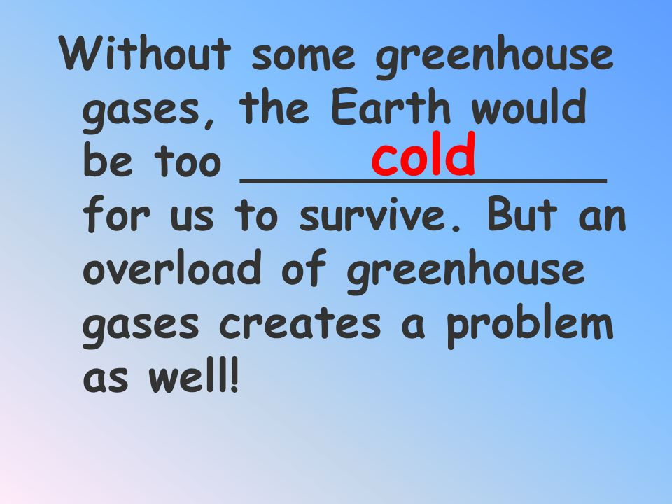 What are the Greenhouse gases? CO 2 H 2 0 VAPOR METHANE GAS INFRARED Ozone CFCs