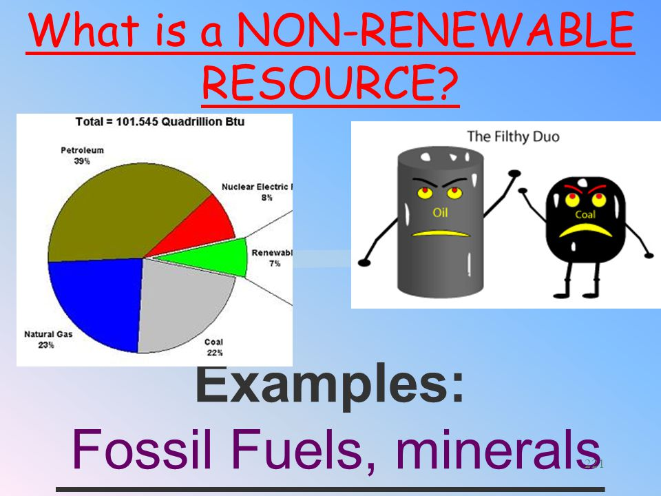 An energy resource that is __________________ __________________ ___. Being used faster than Earth Produces it What is a NON-RENEWABLE RESOURCE? 220