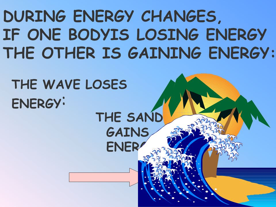 DURING ENERGY CHANGES, IF ONE BODYIS LOSING ENERGY, THE OTHER IS _______ ENERGY: THE WAVE LOSES ENERGY : THE SAND GAINS ENERGY Gaining