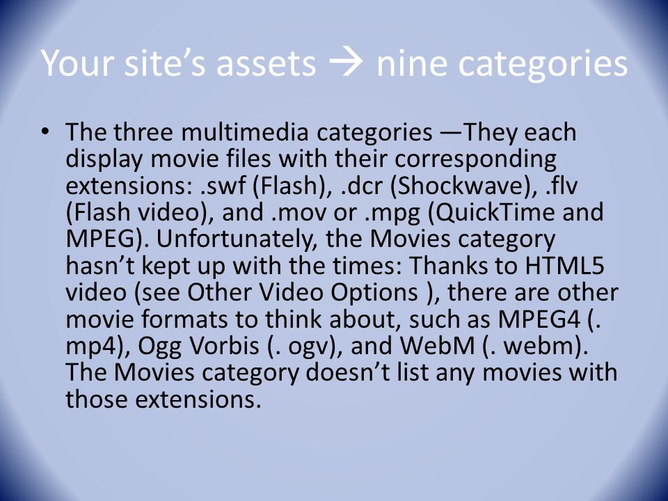 Your site's assets  nine categories The three multimedia categories —They each display movie files with their corresponding extensions:.swf (Flash),.dcr (Shockwave),.flv (Flash video), and.mov or.mpg (QuickTime and MPEG).