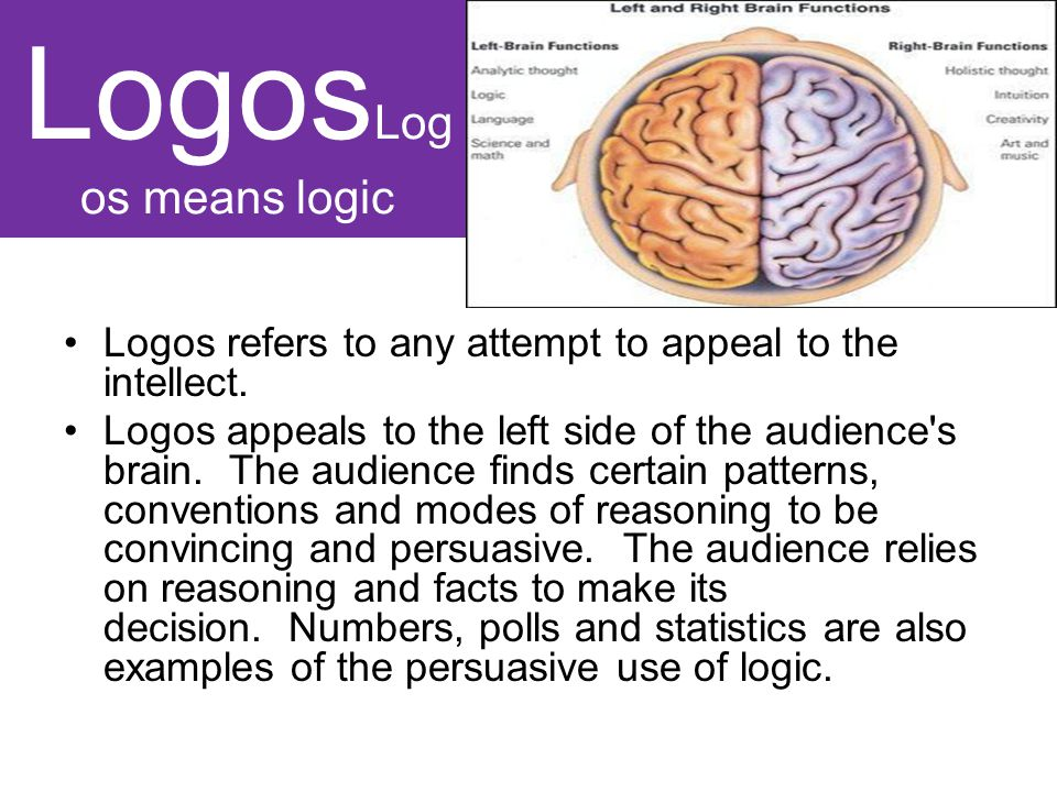 Logos Log os means logic Logos refers to any attempt to appeal to the intellect.