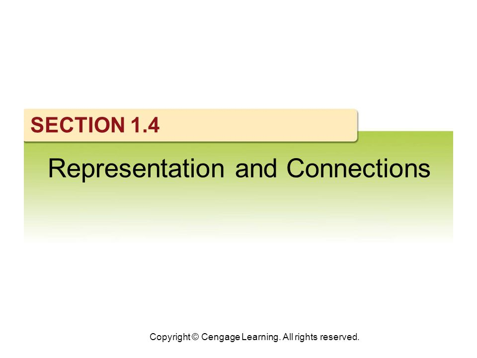 Copyright © Cengage Learning. All rights reserved. SECTION 1.4 Representation and Connections