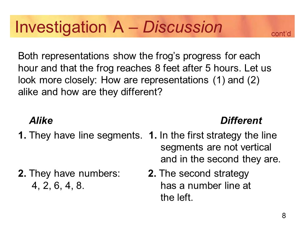 8 Investigation A – Discussion Both representations show the frog's progress for each hour and that the frog reaches 8 feet after 5 hours. Let us look