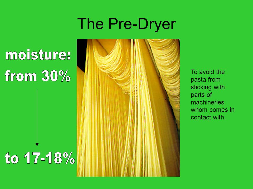 The Pre-Dryer To avoid the pasta from sticking with parts of machineries whom comes in contact with.