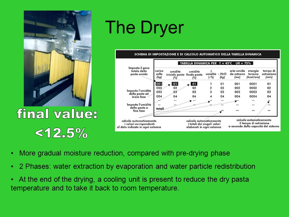 The Dryer More gradual moisture reduction, compared with pre-drying phase 2 Phases: water extraction by evaporation and water particle redistribution At the end of the drying, a cooling unit is present to reduce the dry pasta temperature and to take it back to room temperature.