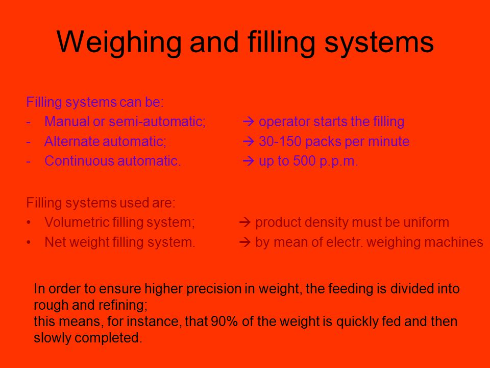 Weighing and filling systems Filling systems used are: Volumetric filling system; Net weight filling system.