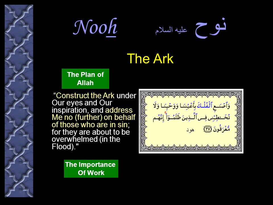 Nooh نوح عليه السلام And as he was constructing the Ark, whenever the chiefs of his people passed by him, they mocked at him.