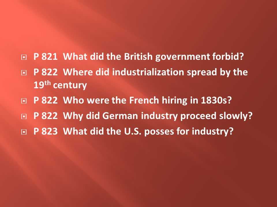  P 821 What did the British government forbid.